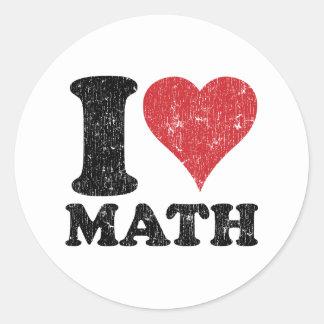 I Love Math Round Sticker
