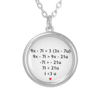 I love math! silver plated necklace