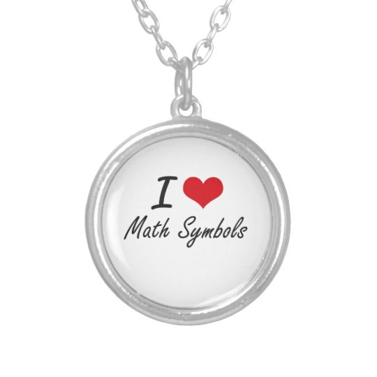 I Love Math Symbols Silver Plated Necklace