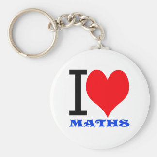 I love maths basic round button key ring