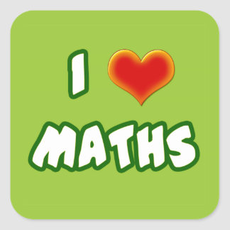 I LOVE MATHS - GREEN MODEL PEGATINAS CUADRADASES