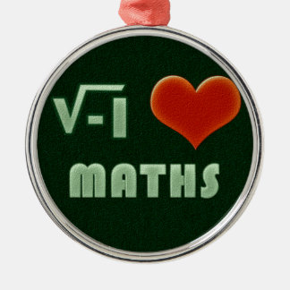 I LOVE MATHS - Green model Silver-Colored Round Decoration