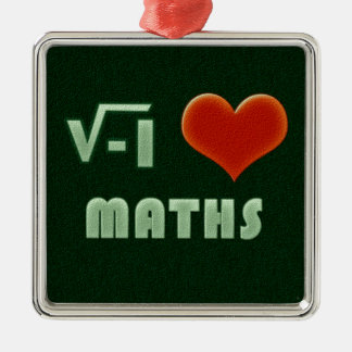 I LOVE MATHS - Green model Silver-Colored Square Decoration