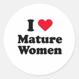 I love mature women round sticker