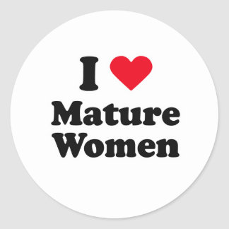 I love mature women classic round sticker