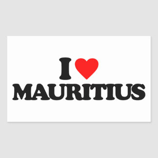 I LOVE MAURITIUS RECTANGULAR STICKER
