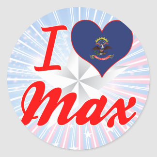 I Love Max, North Dakota Round Sticker