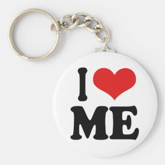 I Love Me Basic Round Button Key Ring