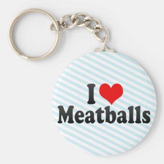 I Love Meatballs Basic Round Button Key Ring