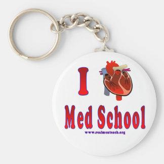 I Love Med School Basic Round Button Key Ring