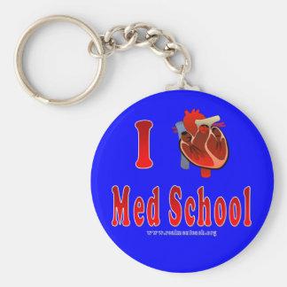 I Love Med School (blue) Basic Round Button Key Ring