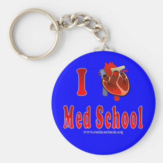 I Love Med School blue Keychains