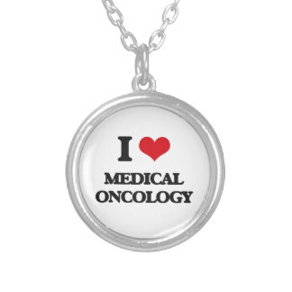 I Love Medical Oncology Silver Plated Necklace