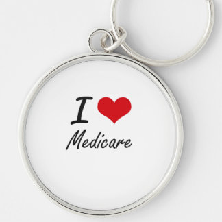 I Love Medicare Silver-Colored Round Key Ring