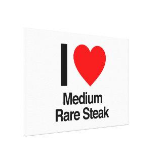 I love medium rare steak stretched canvas print
