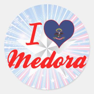 I Love Medora, North Dakota Round Sticker
