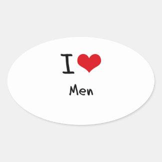 I love Men Oval Sticker