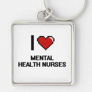 I love Mental Health Nurses Silver-Colored Square Key Ring