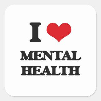 I Love Mental Health Square Stickers