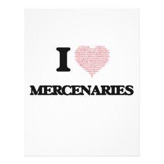 I love Mercenaries (Heart made from words) 21.5 Cm X 28 Cm Flyer