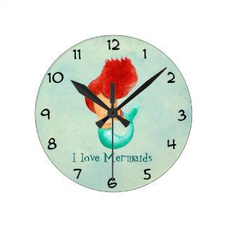 I love Mermaids Round Clock
