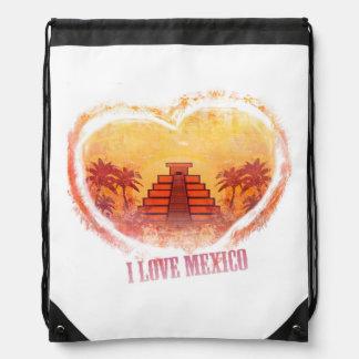 I Love Mexico Drawstring Backpack