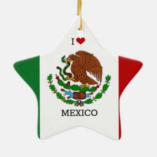 I Love Mexico, Mexican Flag Christmas Ornament