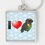 I Love Meyer's Parrots Silver-Colored Square Key Ring