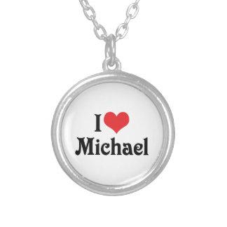 I Love Michael Round Pendant Necklace