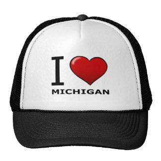 I LOVE MICHIGAN TRUCKER HATS