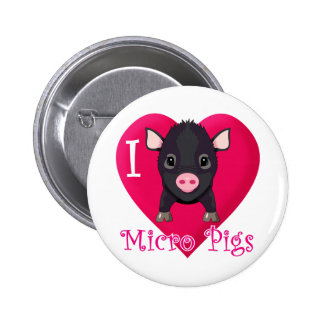 I Love Micro Pigs 6 Cm Round Badge