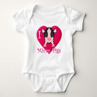 I Love Micro Pigs Baby Bodysuit