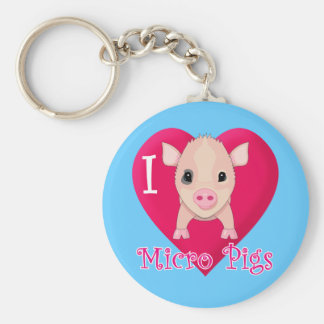 I Love Micro Pigs Basic Round Button Key Ring