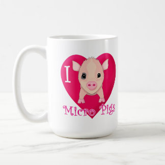 I Love Micro Pigs Basic White Mug