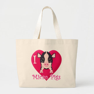 I Love Micro Pigs Large Tote Bag