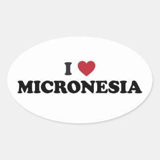 I Love Micronesia Oval Sticker