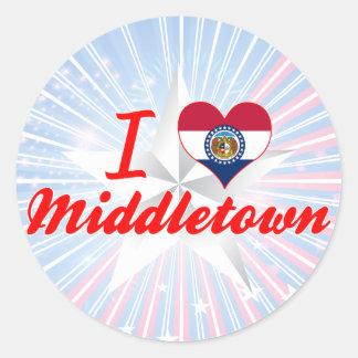 I Love Middletown, Missouri Round Stickers