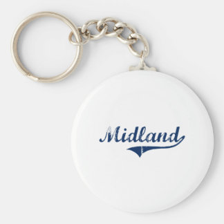 I Love Midland Michigan Basic Round Button Key Ring
