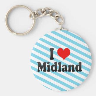 I Love Midland, United States Basic Round Button Key Ring