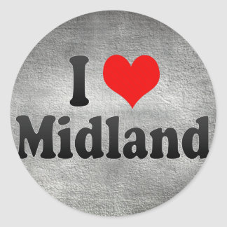 I Love Midland United States Round Sticker
