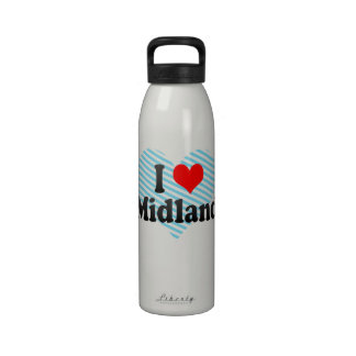 I Love Midland, United States Reusable Water Bottles
