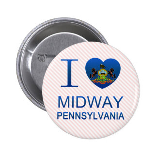 I Love Midway, PA 6 Cm Round Badge