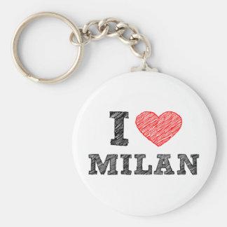 I Love Milan Basic Round Button Key Ring