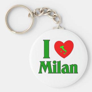 I Love Milan Italy Basic Round Button Key Ring