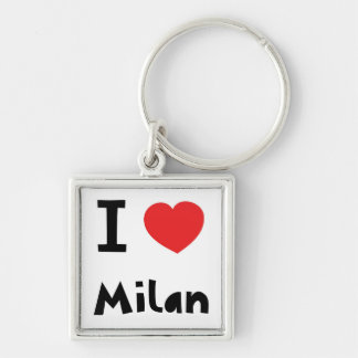 I love Milan Silver-Colored Square Key Ring