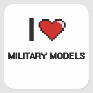 I Love Military Models Digital Retro Design Square Sticker