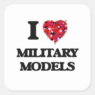 I Love Military Models Square Sticker
