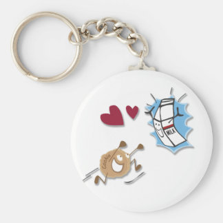 I love milk and cookies! basic round button key ring