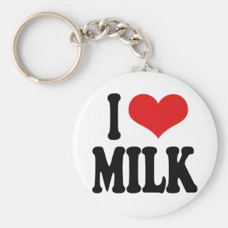 I Love Milk Basic Round Button Key Ring