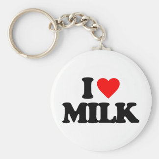 I LOVE MILK BASIC ROUND BUTTON KEY RING